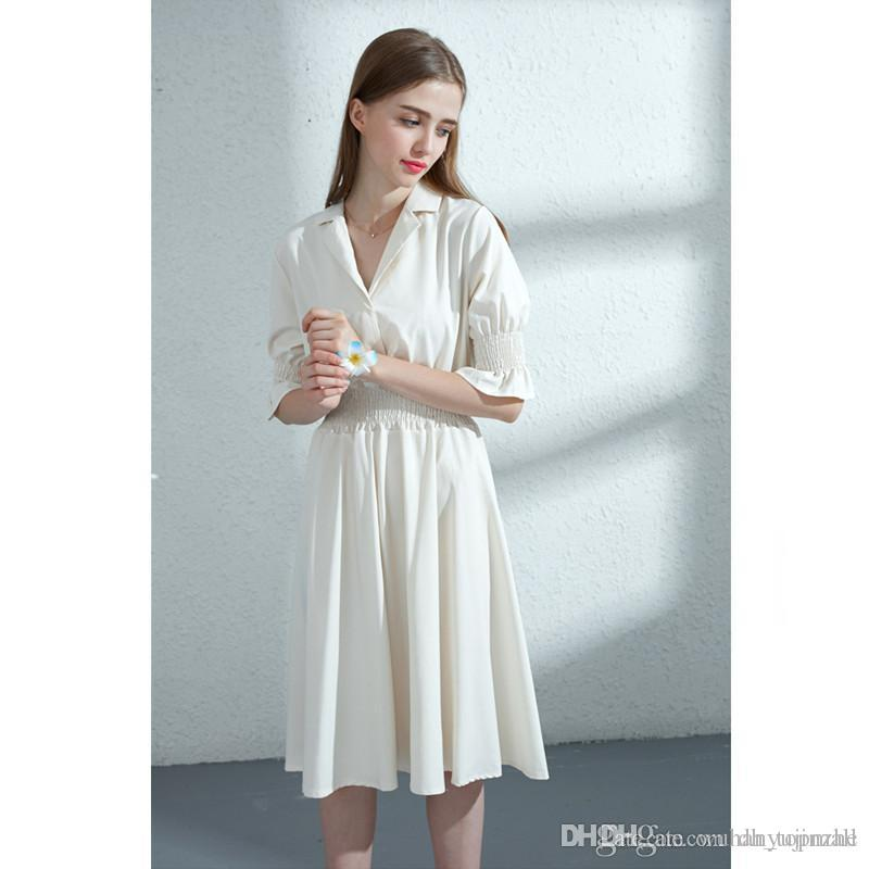 c1a6bf2a107 2018 Women Office Dress White Half Sleeve Shirt Dresses Summer Fashion V  Neck Elegant Woman Bloues Casual Dresses JC136 UK 2019 From Dh topmall