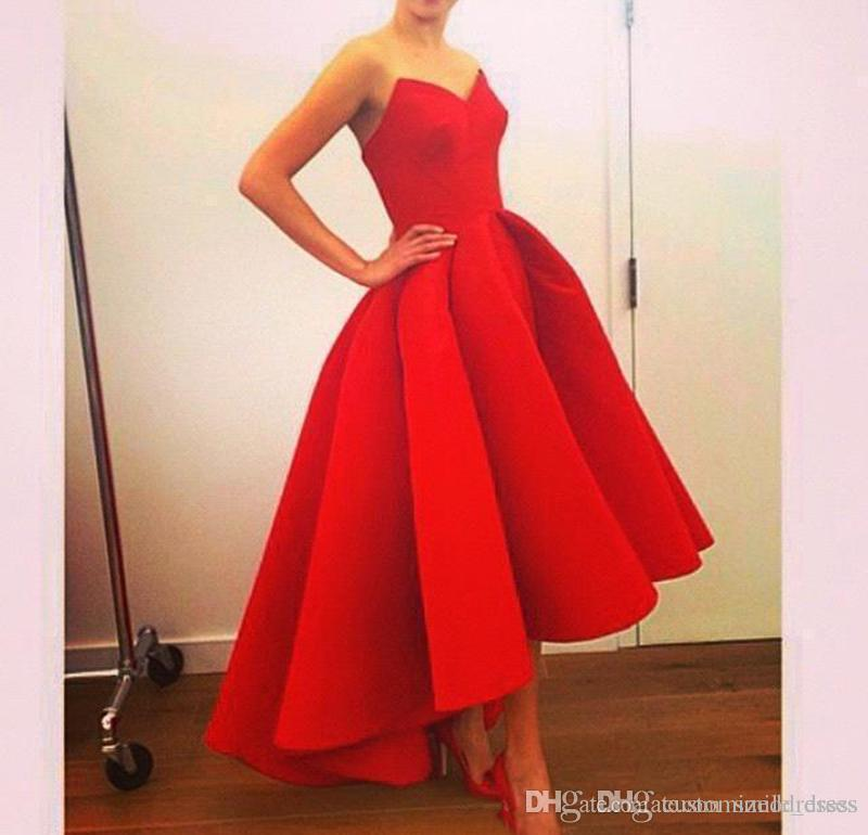 cd3d3e27932 2017 Vintage Hi Lo Prom Dresses With Sweetheart Neck Tea Length Puffy Skirt  Unique Red Evening Gowns Vestidos Arabic Dresses 1920s Evening Dresses Best  ...