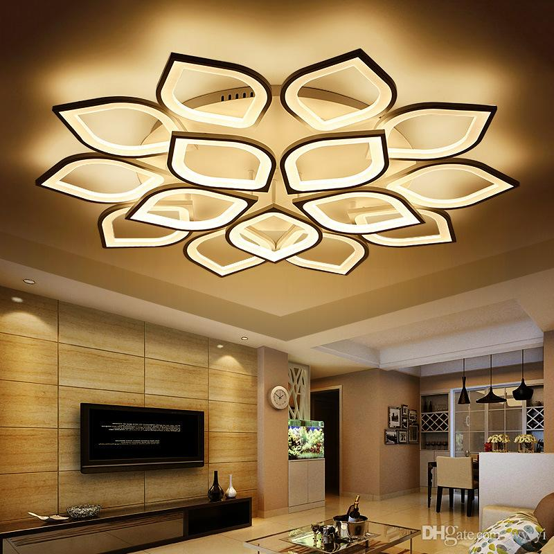 Modern Acrylic Led Ceiling Chandelier With Remote Control Living Room  Bedroom Lamp Light Fixtures Decoration Home Lighting AC 90-260V