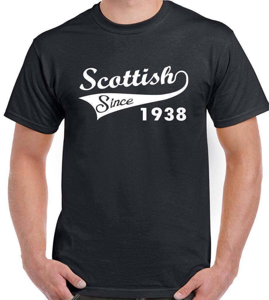 Scottish Since 1938 Mens Funny 80th Birthday T Shirt Rugby Football Flag Shirts From Jie43 1421