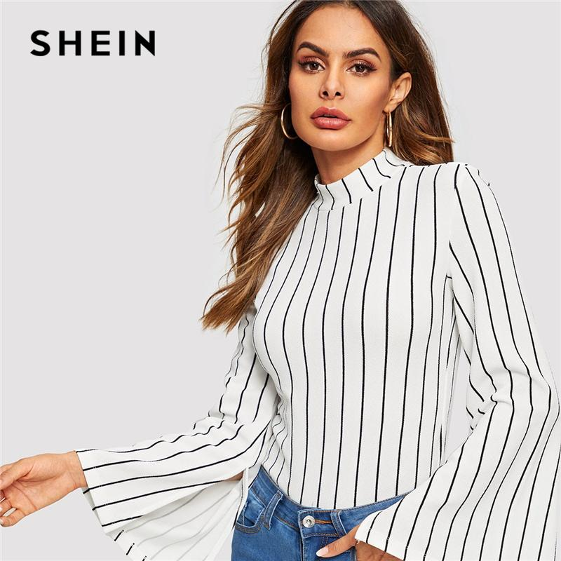 2f9859932a767a SHEIN Black And White Mock Neck Stand Collar Bell Sleeve Long Sleeve  Striped Tee 2019 Spring Casual Women Modern Lady Tshirt Top Online Shop T  Shirt Shirts ...