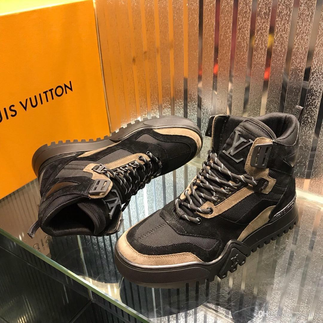 2019F limited luxury high men's casual shoes fashion men's sports boots quality leather men's boots original box invoice packaging