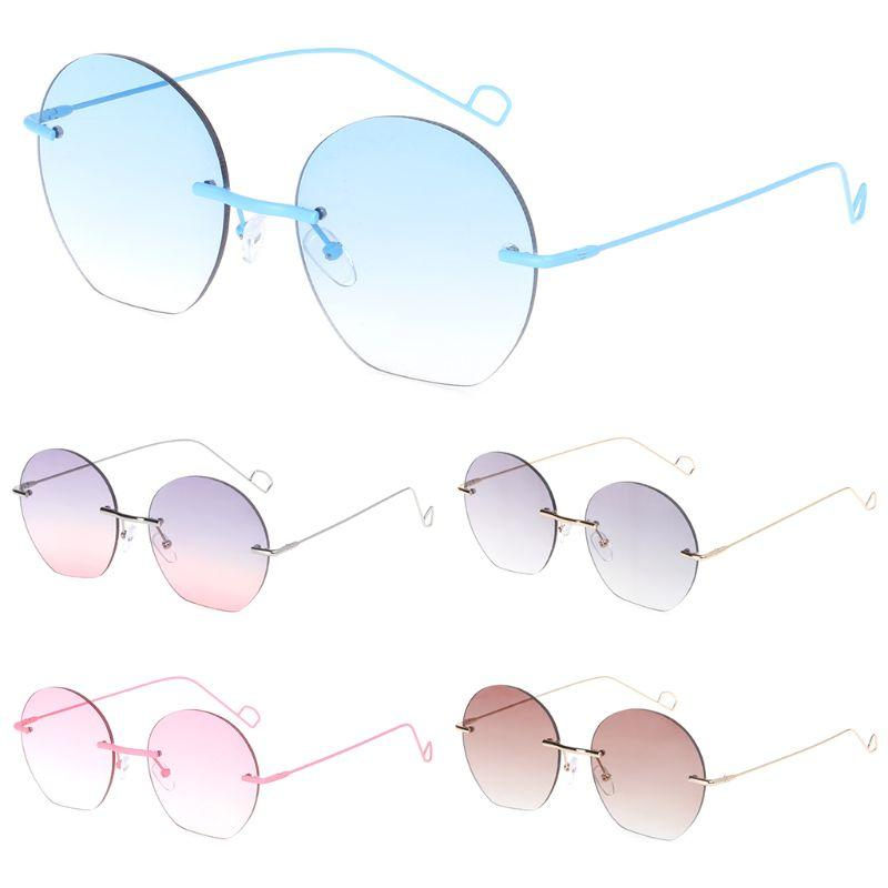 4de7d858709 Rimless Sunglasses No Frame Fashion Women Men Round Personality ...