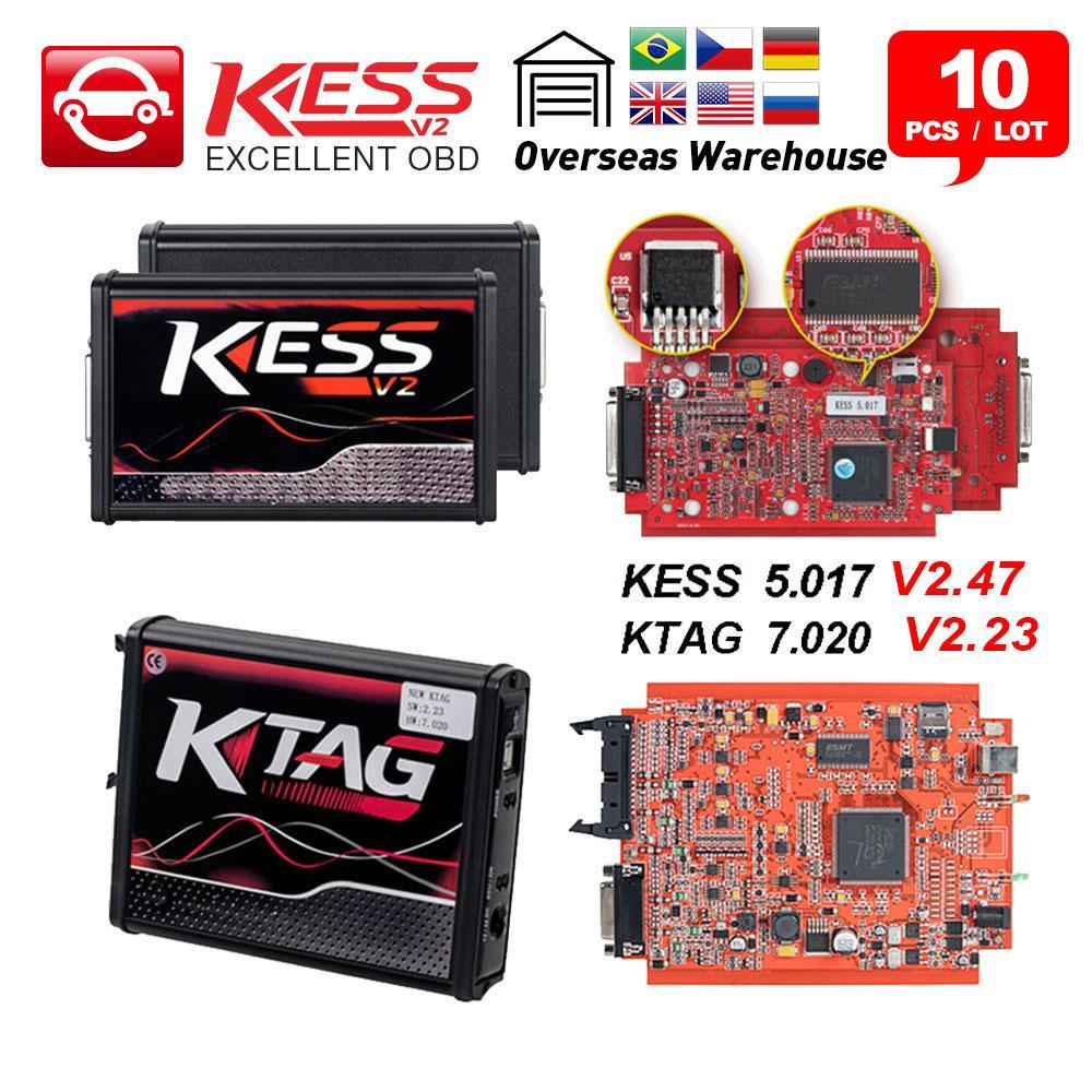 10pcs/lot KESS v2 V5 017 EU Red No Token limit KTAG V7 020 V2 25 4 LED  Master Version ECU Programming tool OBD2 chip Tuning