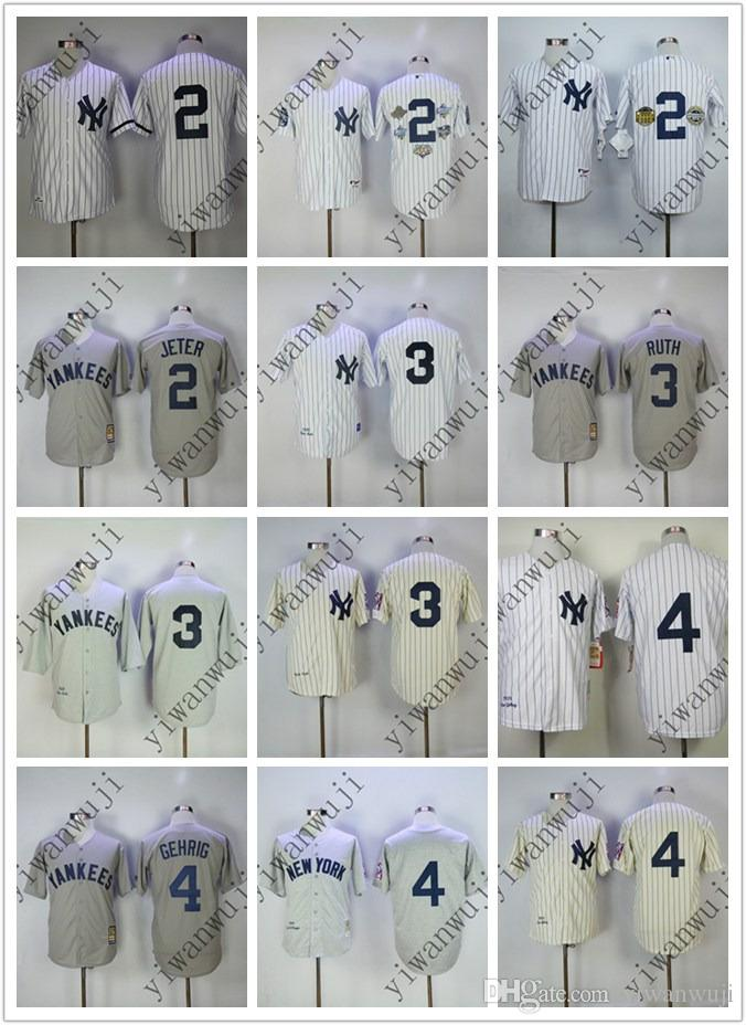 promo code 999c3 350a5 Wholesale Yankees jerseys 2# Jeter/3# Ruth/4# Lou Gehrig Cream White Grey  Baseball Jerseys Shirt Stitched Top Quality !