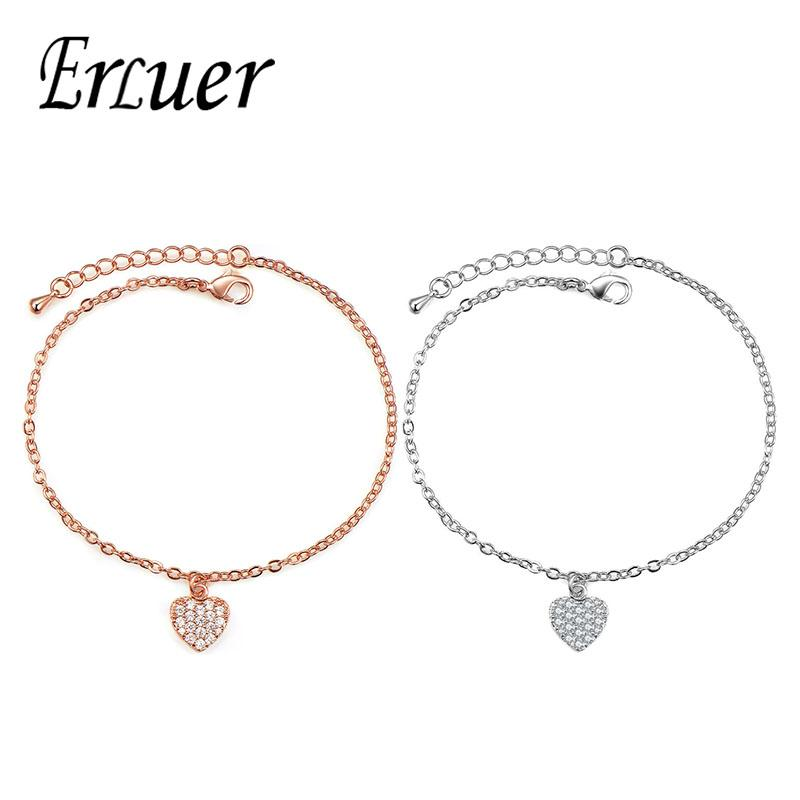 ERLUER Fashion Adjustable Heart Shape Bracelet for women Romantic Wedding Bracelet Copper Party Valentine Day Gift Drop shipping