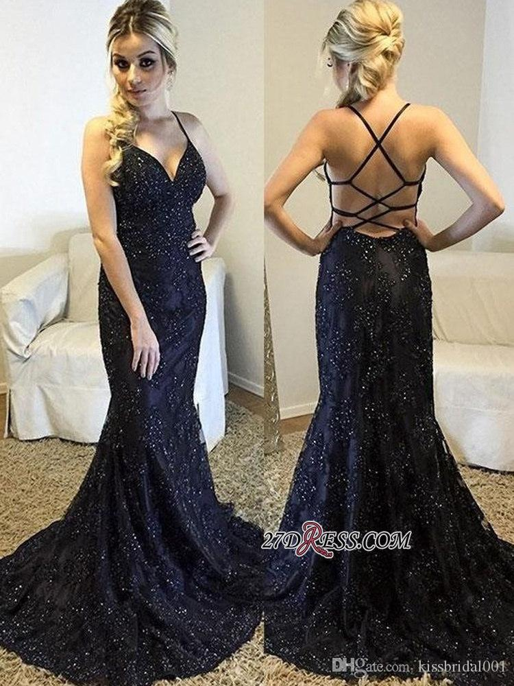 22b53cd062925 Abendkleider Sexy Mermaid Prom Dresses Long Cheap Beaded Lace Formal  Evening Gowns Criss Cross Cocktail Party Ball Dress for Women