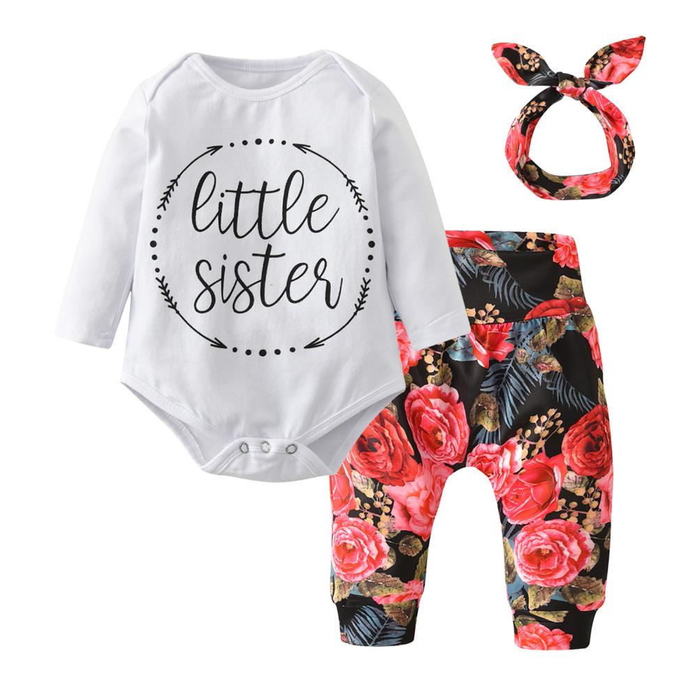 02cf42d42 2019 Newborn Clothes Baby Girls Clothing Set Casual Little Sister Bodysuit  Tops+Floral Pants+Bowknot Headband Infant Outfits Y18120303 From  Shenping01, ...