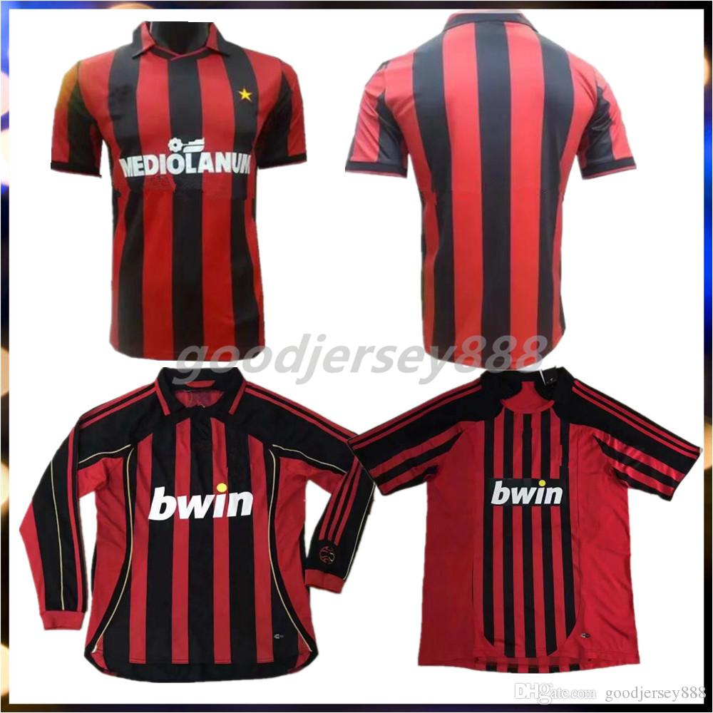 low priced a2d05 ce6a9 2006 2007 AC milan Retro UCL home jersey long sleeves Soccer Jersey Kaka  Inzaghi Gattuso Ronaldo Pirlo Seedorf Vintage Football Shirt