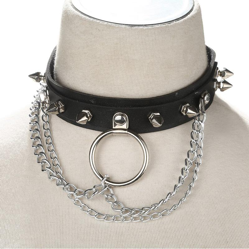 a5fea8bbb4f9f Faux Leather Choker Spike punk Harajuku Goth Collar belt Necklace Metal  Chain choker bondage Rock club party festival jewelry