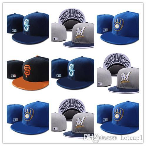 723dd4a12 Cheap Retail One Piece Men s Mariners fitted hat flat Brim embroiered  letter fans baseball Seattle Mariners Fitted Hat full closed Chap