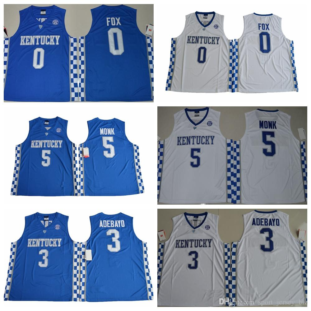 2019 Kentucky Wildcats 0 De Aaron Fox Jersey 5 Malik Monk 3 Edrice Adebayo College  Basketball Jerseys Blue White Mens DeAaron Fox Stitched From ... b1fe4f81f
