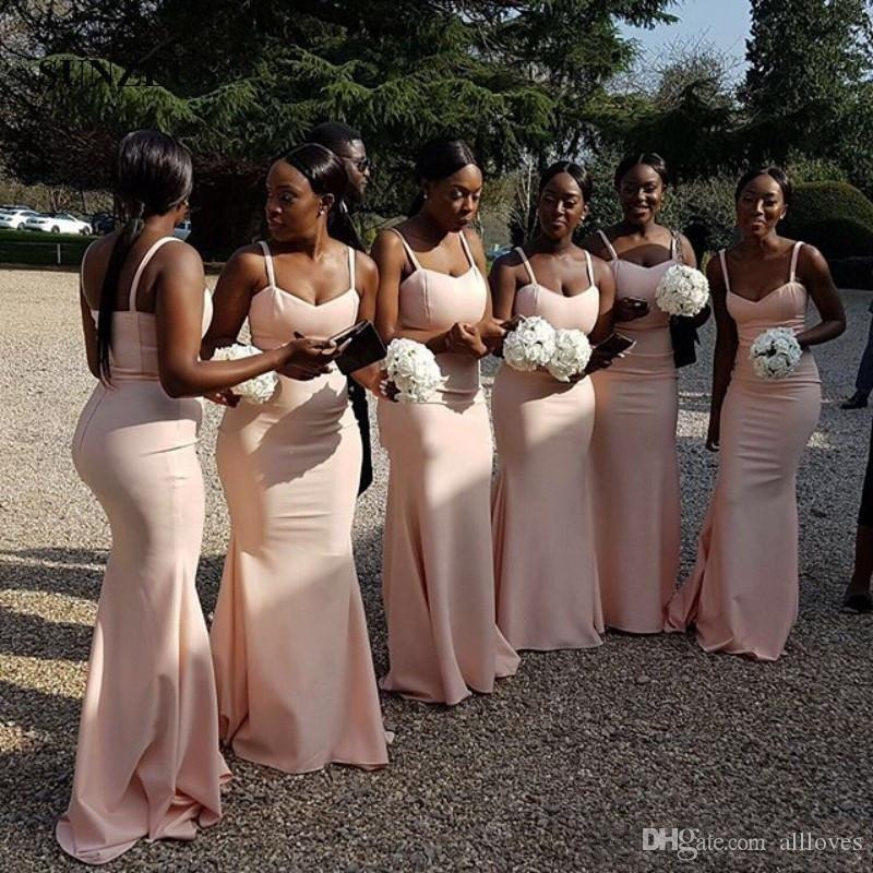 Pink Spaghetti Straps African Bridesmaid Dresses Long Backless Sheath Maid Of Honor Gown Simple Wedding Guest Dress Custom Made AL2828
