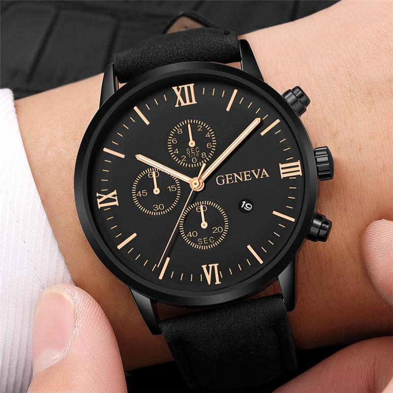 Quartz Watches Precise Fashion Geneva Men Date Alloy Case Synthetic Leather Analog Quartz Sport Watch Male Clock Top Brand Luxury Relogio Masculino Last Style