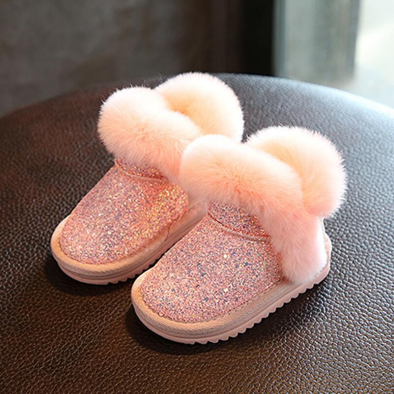 14783b383dbb5 ... Bottes Courtes Bottes Enfants De Fourrure De Lapin Cheveux Bottes En Caoutchouc  Bébé Chaud Printemps D hiver Casual Chaussures Pour Femme Taille 21 36 ...
