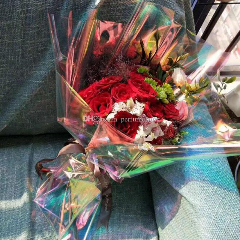 50cm*10m Bright Flower Bouquet Packaging Laser Paper Florist Supplies Gift Box Wrapping Paper Handmade Material Wholesale