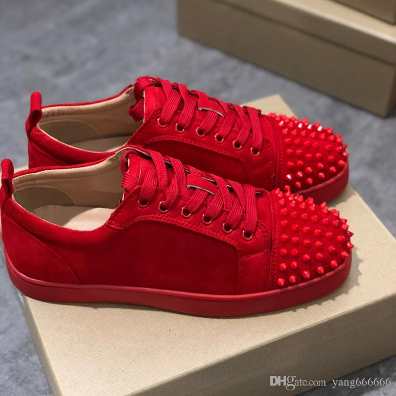 classic fit 48279 aa723 2019 Designer Sneakers Red Bottom shoe Low Cut Suede spike Luxury Shoes For  Men and Women Shoes Party Wedding crystal Leather Sneakers