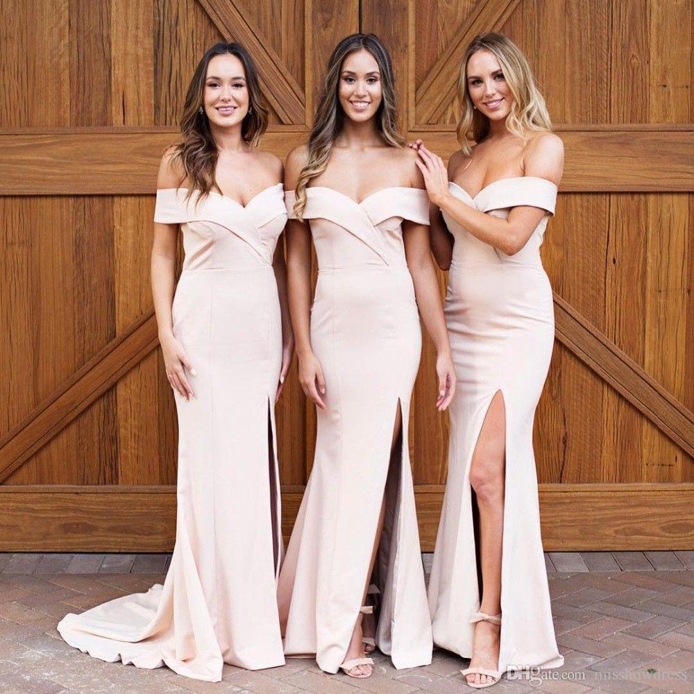 384acf93e8 Compre 2019 Vestidos De Dama De Honor Con Aberturas Laterales Y Escotadas  En V Con Cuello En V Largo Y Elegante Fuera Del Hombro Vestidos De Sirena  Para ...