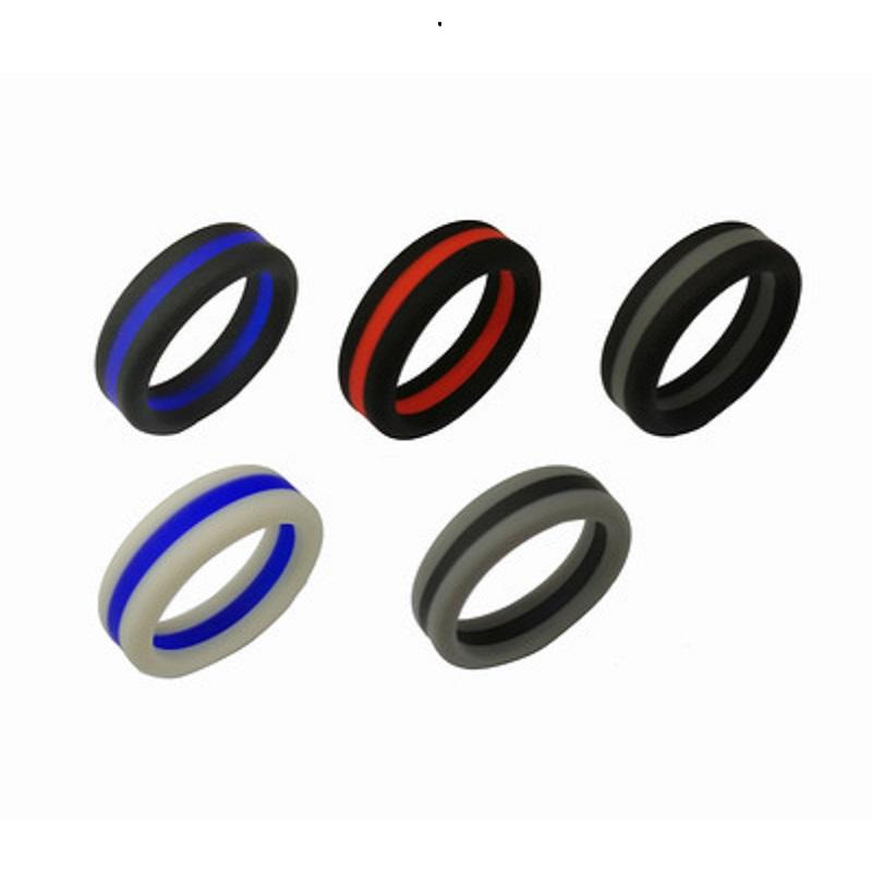 Double Color Silicone Wedding Rings 8mm Flexible Sport Band Ring For