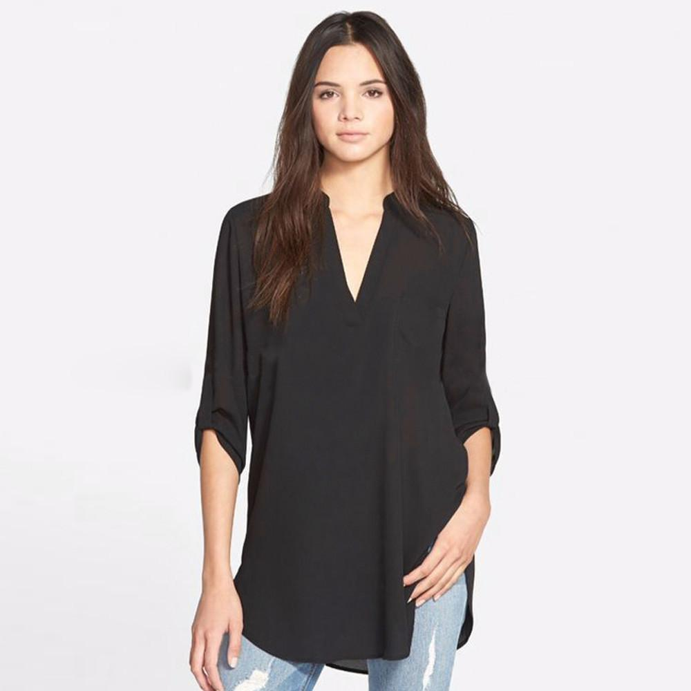 6c0f9a0d53d 2019 Plus Size Summer Tops For Women Solid Long Sleeve Vintage Deep V Neck  2018 Ladies Tops Shirt Batas Blusas Feminina From Linql01