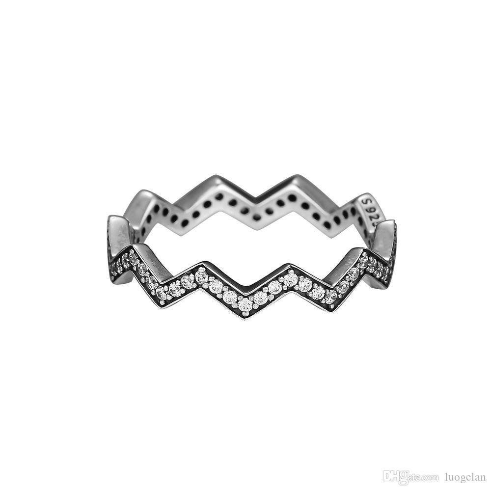متوافق مع باندورا عصابة المجوهرات الفضية وميض متعرج حلقات مع CZ100 ٪ 925 الاسترليني والفضة والمجوهرات بالجملة DIY للنساء