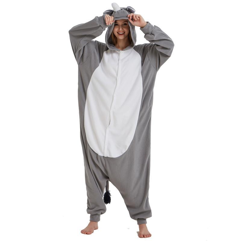 56511c682 2019 New Grey Polar Fleece Onesie Rhinoceros Kigurumi Animal Women ...