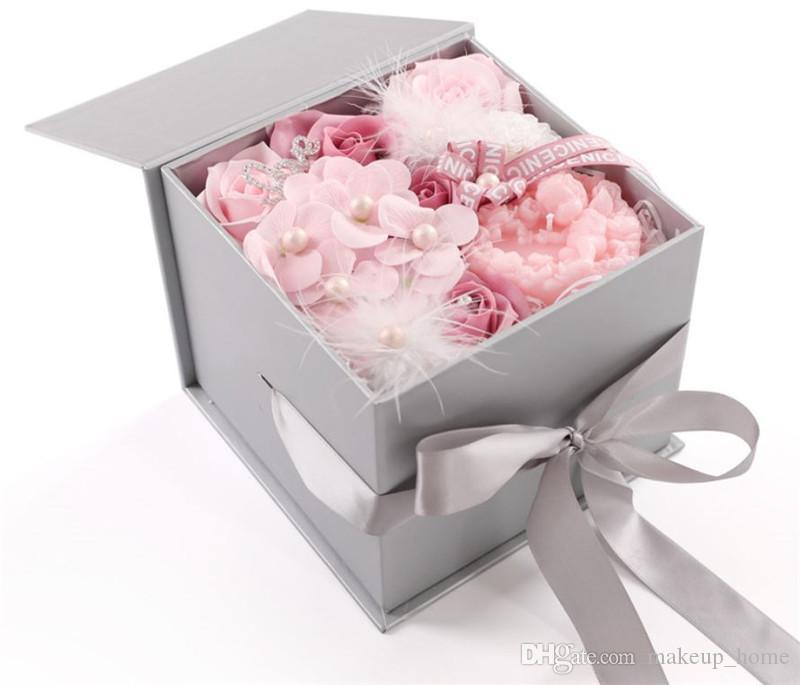 Wholesale Valentine S Day Gift Romantic Velvet Candles Soap Flower