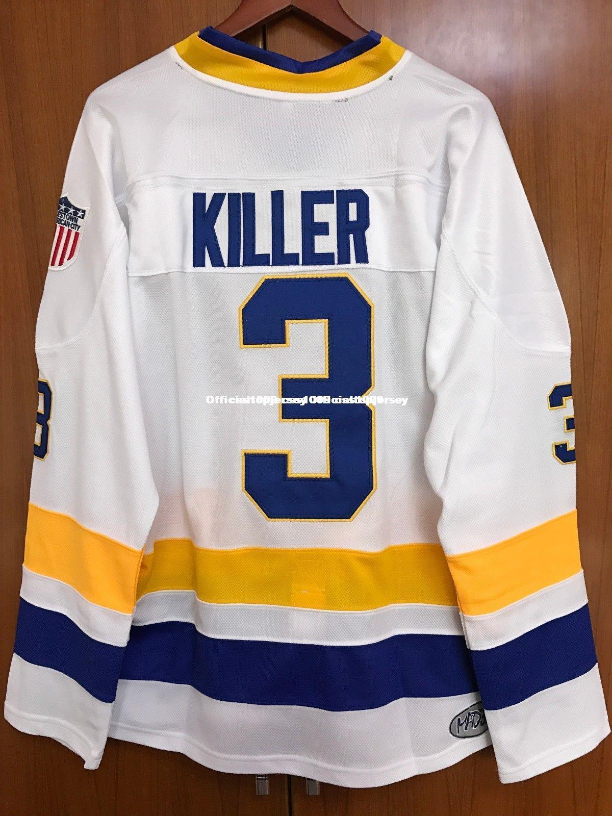 2019 Cheap Custom Dave Killer Carlson  3 Ice Hockey Jersey Charlestown  Chiefs White Stitched Customize Any Number Name MEN WOMEN YOUTH GOALIE CUT  From ... 1ea5d639752