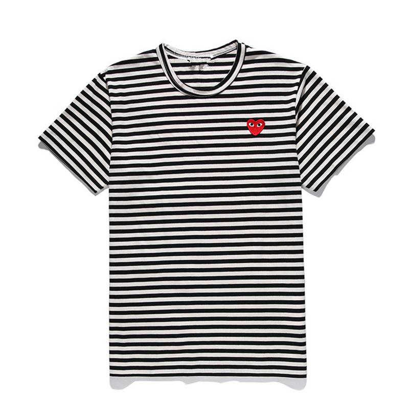 codice promozionale dbcb5 dde25 CDG PLAY commes mens designer t shirts OFF With Heart sport tee Shirts des  garcons White Pablo stripe Shirts For Summer vetements