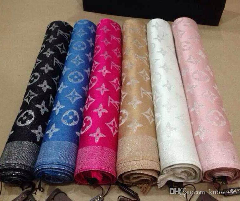 High quality fashion scarf Brand wool scarf fashionable bright Gold and silver thread wool textile Cotton scarf 180*70