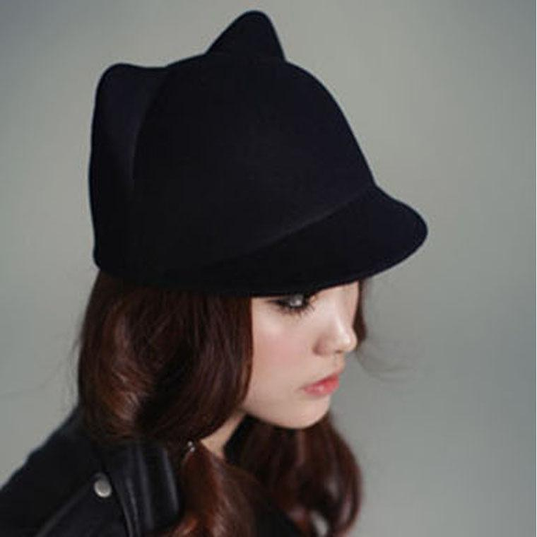 a49ee6390a257 Dropshipping Fashion Women Vintage Warm Devil Hat Cute Kitty Cat Ears  Winter Wool Derby Bowler Cap D19011103 Hat Store Fedora Hats For Men From  Yizhan02