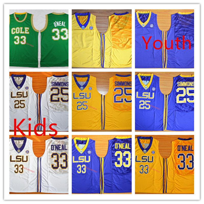 sports shoes a7418 cf0f0 Kids NCAA LSU Tigers #25 Ben Simmons Basketball Jersey Youth #33 Shaquille  O Neal LSU Tigers Jersey S-2XL