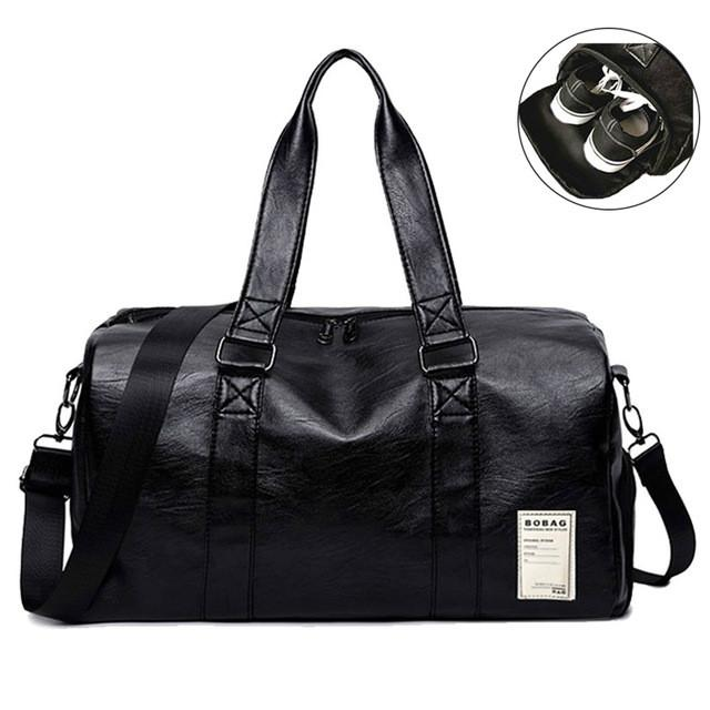 2019 Gym Travel Pu Leather Male Bag Top Female Sport Shoe Bag For