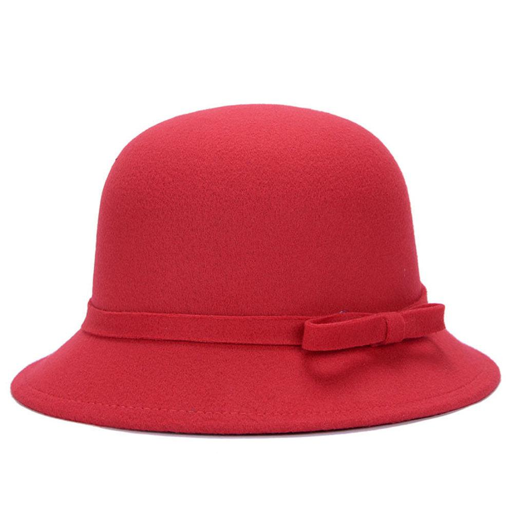 2019 Hot Fedoras Bow Tie Vintage Retro Lady Women Cloche Hat Felt Bucket Fedora  Bowler Dome Cap Fedoras Cheap Fedoras 2019 Hot Fedoras Bow Tie Vintage Retro  ... dd84719d3046