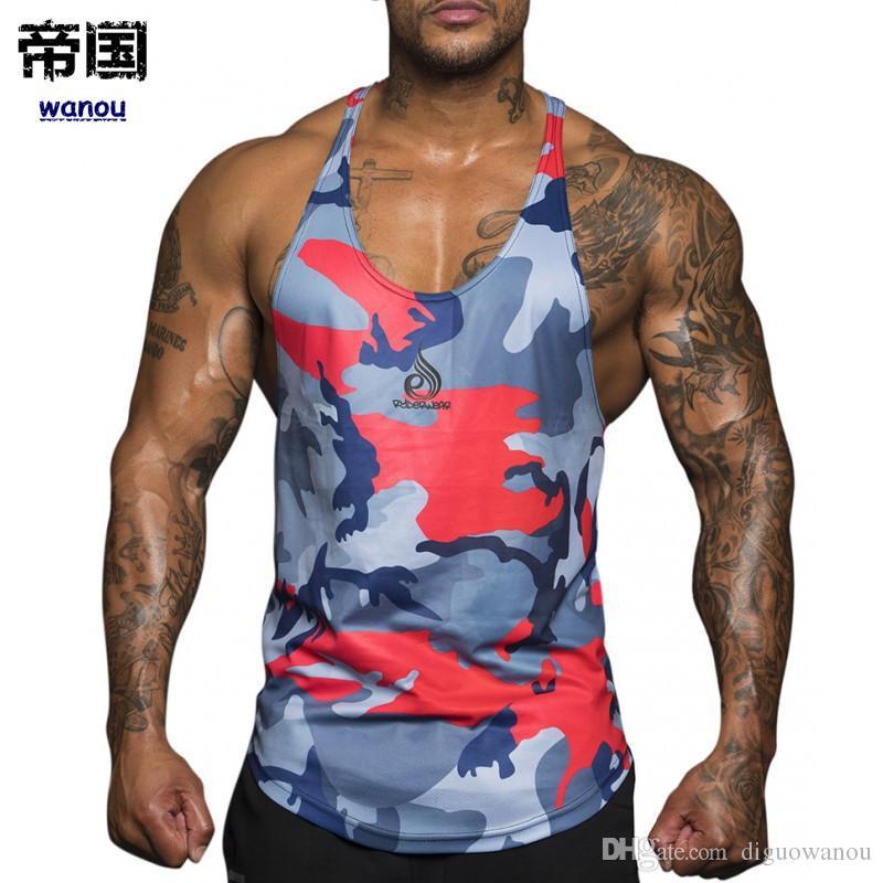 56d6b03e06d79 ... Fitness Tank Tops Men Running Sleeveless Shirt GYM Training Vest  Sportswear Beachwear Undershirt MMA Awesome Shirt Designs Funny Slogan T  Shirts From ...