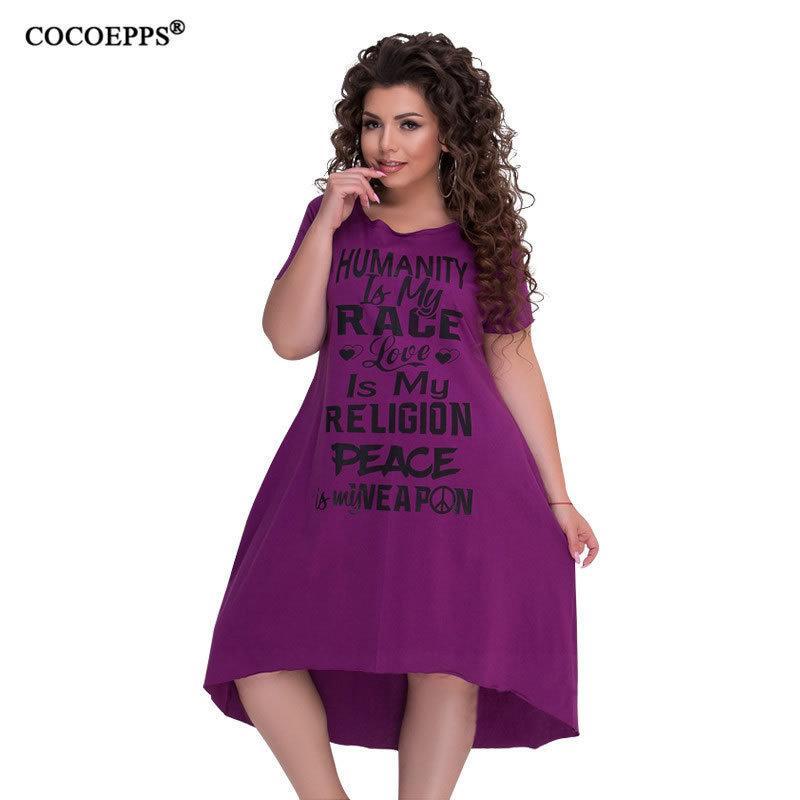 64662083efd 2019 Cocoepps 5xl 6xl Plus Size Women Dresses Letter Print Large Size  Summer Dress Loose Casual Big Size Women Dress Style Vestido Y19012201 From  Jinmei03