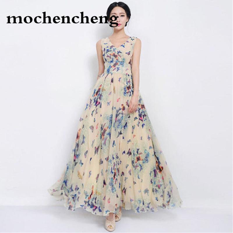 best loved 10de6 946ed Sexy Frauen Sommerkleid Maxi Lange Chiffon Strandkleider Lose Beiläufige  Schmetterling Gedruckt Kleid Dünne Marke Vestidos Plus Größe XXXL
