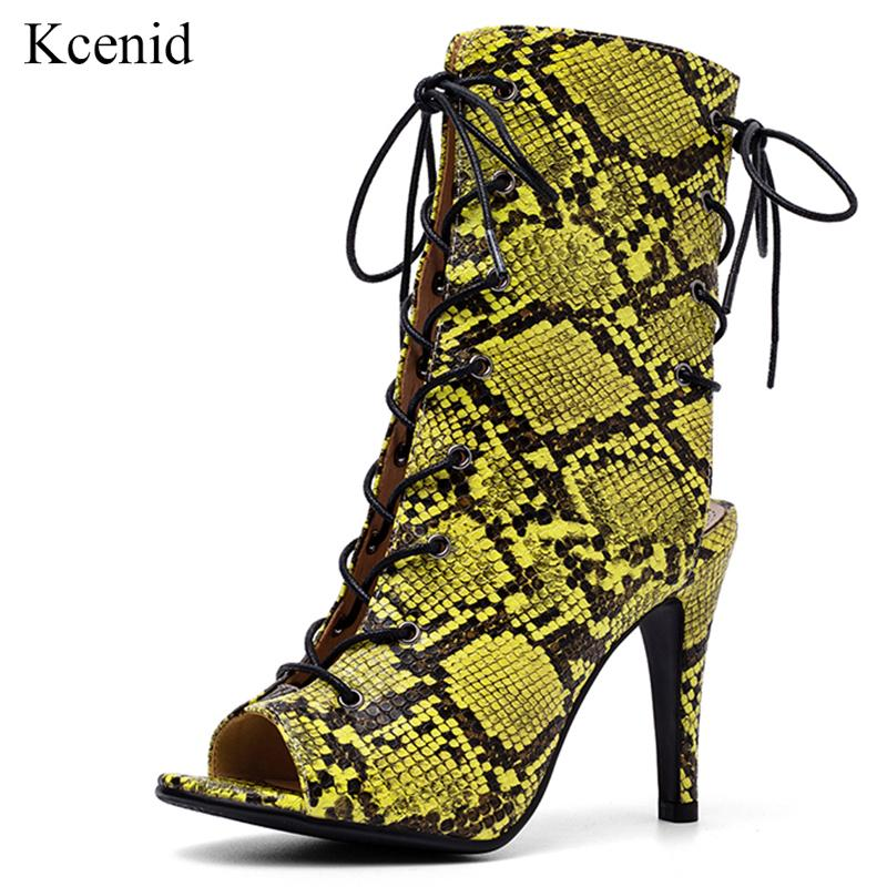 6a6aabc1 Kcenid New Fashion PU Animal Prints Women Lace Up Boots Summer Shoes ...