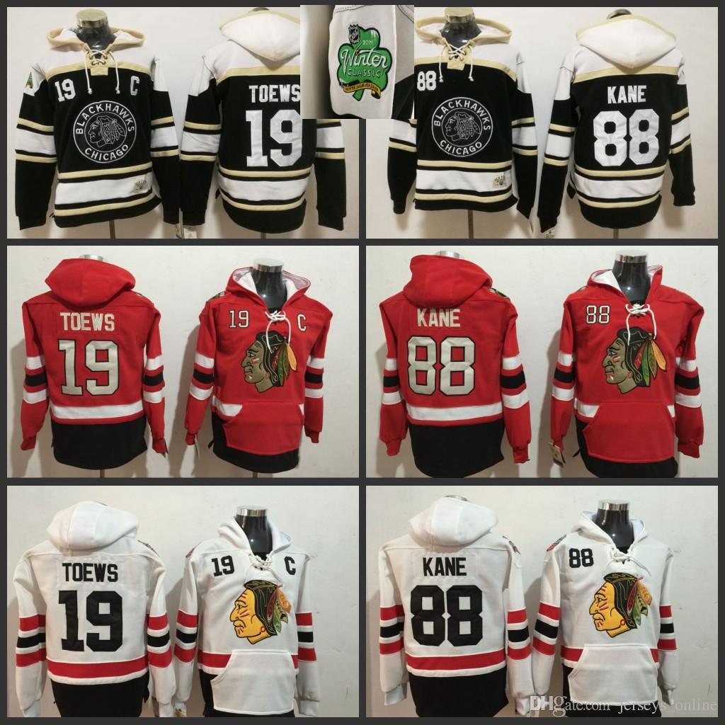 8922979de 2019 Men Chicago Blackhawks Hockey Hoodies 88 Patrick Kane 19 Jonathan  Toews 2019 Winter Classic Black All Stitched Jerseys Sweaters From  Jerseys_online, ...