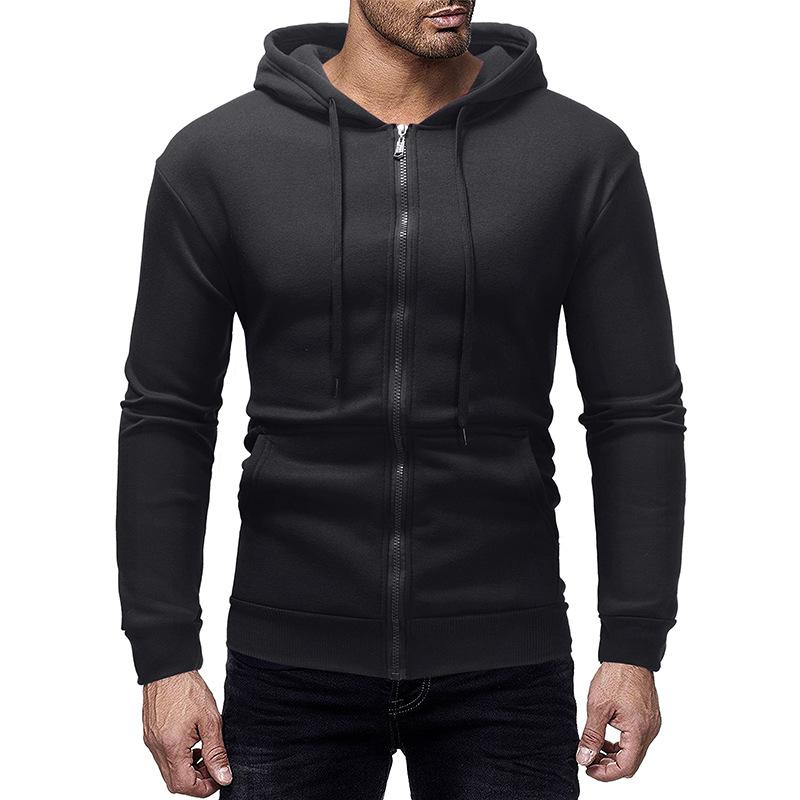 penwom.Men's Cardigan Sweater Casual Hoodie Solid Color Cotton Long Sleeve Zipper with Hat Autumn Long Sports Jacket