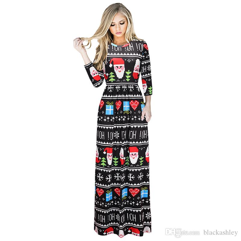 02cadcf6d23a Chinese Factory Wholesale Christmas Black Dress Christmas Multicolored  Pattern Women Clothing Black And Red Dresses For Juniors Black Woman Dress  From ...