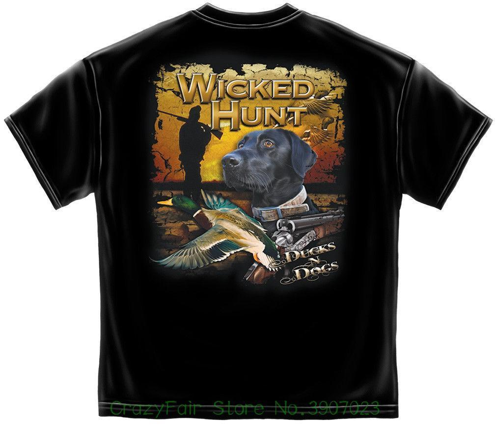 5e55e6d3e74a Hunter T Shirt Wicked Hunt Ducks And Dogs Black New Short Sleeve Round Collar  Mens T Shirts Fashion 2018 Cheap T Shirts Long Sleeve T Shirts From Jie11,  ...