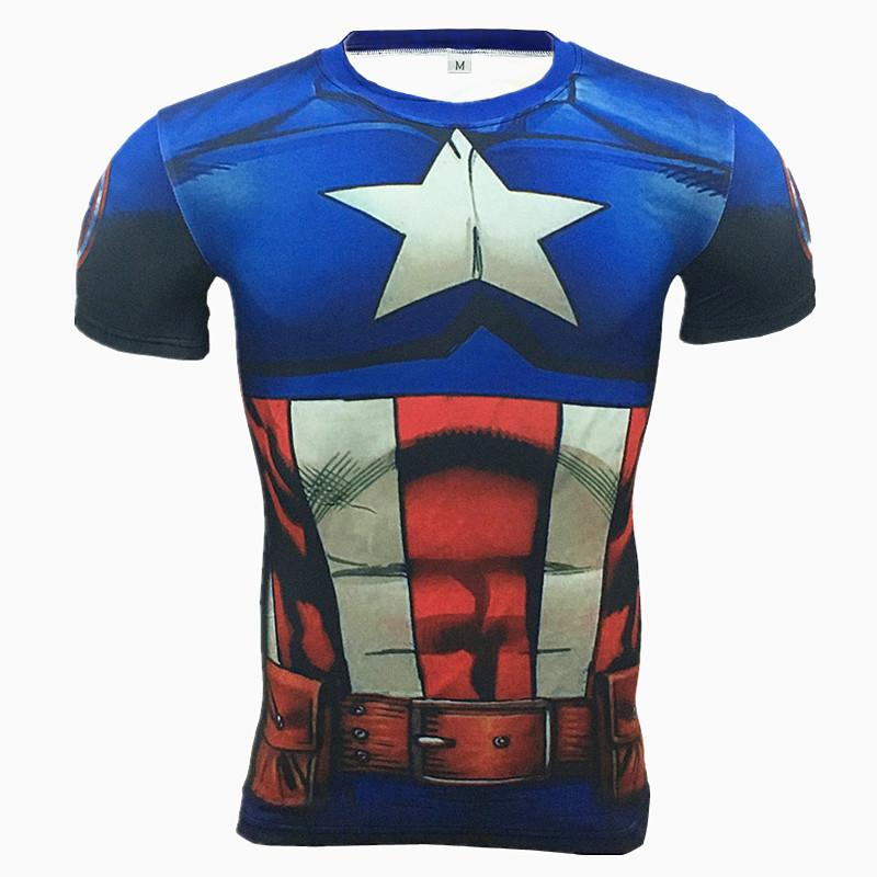 Wholesale-3D Printed Fitness T shirts Men Superhero Compression Short Sleeve Sports Shirts Funny Cosplay Bodybuilding Male Tops
