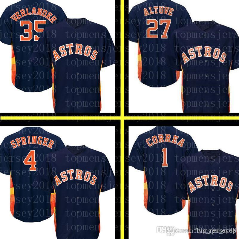 4b7a048b5d4 27 Jose Altuve Houston Astro Jersey Astros 4 George Springer 1 Carlos  Correa 35 Justin Verlander Baseball Jerseys Embroidery Logos UK 2019 From  ...