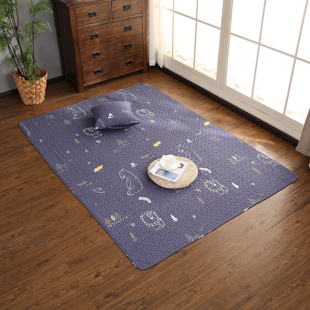 Anti Slip Soft Kids Bedroom Floor Mats Large Size Carpet Coffee
