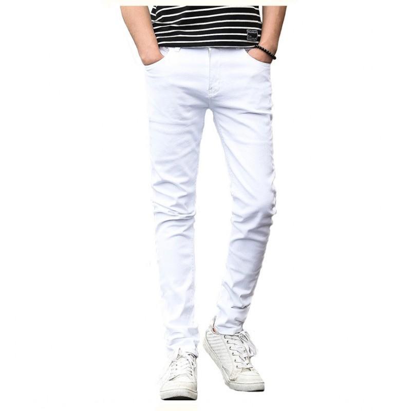 e8c31338bdd Compre Clássico Homem Jovem Branco Calças De Brim Finas Homens Lazer Street  Wear Calças Masculinas Sólida Moda Pessoal Calças Casuais De Qualidade  Denim De ...