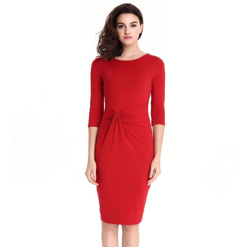 quality design 47a79 ad655 Abiti da cerimonia per signora OL Abiti da lavoro per ufficio colore puro  vita alta pieghettato tendenza design donne abiti rossi