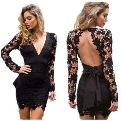 Sexy Women Dresses 2019 New Arrival Lace Hollow Out Deep V-Neck Dresses Womens Formal Dress Fashion Sexy Party Dress