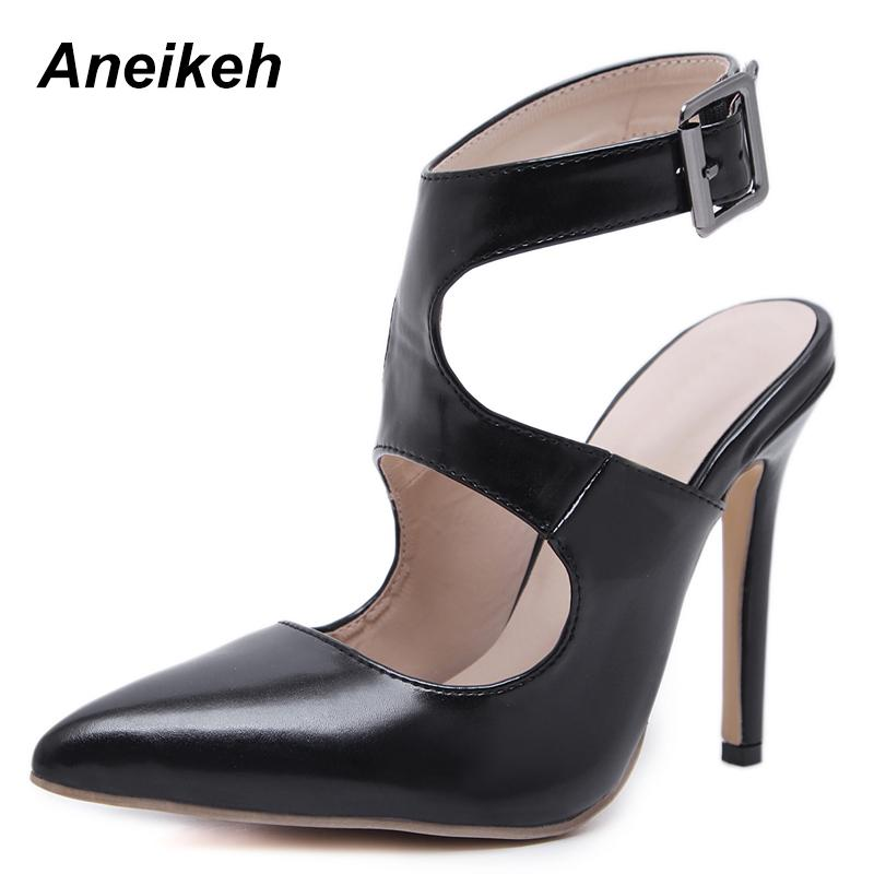 ba12fcd641f Dress Aneikeh 2019 Gladiator Pu High Thin Heels Shoes Woman Pointed Toe  Pumps Platform Pumps Mature Lady Party Shoes Black Size 35 40 Pumps Shoes  Slippers ...