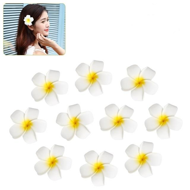 7cm Hawaii Flower Hair Clip Hairpin Simulation Egg Flower Headdress for Beach Luau Party White with Yellow